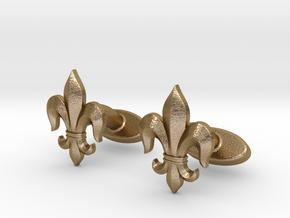 Fleur-de-lis Cufflinks in Polished Gold Steel
