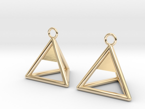 Pyramid triangle earrings Serie 2 type 1 in 14k Gold Plated Brass