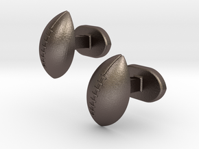 Rugby ball cufflinks in Polished Bronzed Silver Steel