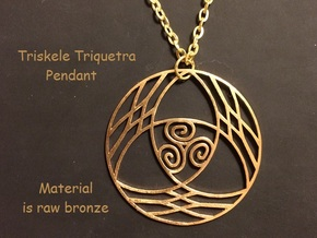 Triquetra with Triskele Pendant in Natural Bronze