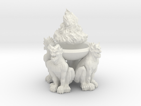Brazier:  Demon Brazier with Flames in White Natural Versatile Plastic