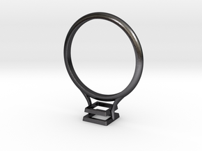 Bezel Ring- Square in Polished and Bronzed Black Steel