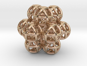 12 Vector Equilibrium Spheres Fractal Sacred Geome in 14k Rose Gold Plated