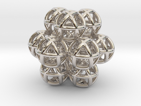 13 Vector Equilibrium Spheres Fractal Sacred Geome in Rhodium Plated Brass