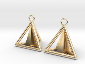 Pyramid triangle earrings Serie 2 type 3 in 14k Gold Plated Brass