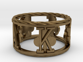 Royal Flush Clubs Ring in Natural Bronze: 8 / 56.75