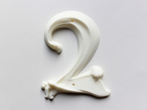 Art Nouveau House Number: 2 in White Strong & Flexible