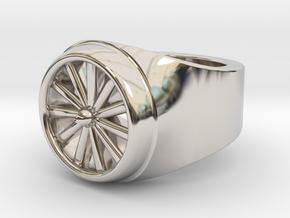 Jet Engine Ring  in Rhodium Plated Brass