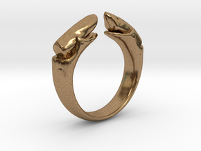 dual stone ring in Natural Brass