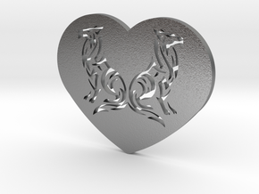 Geri and Freki Heart in Natural Silver