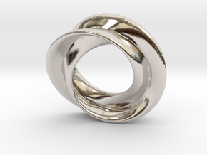 Mobius rose 26mm in Rhodium Plated Brass