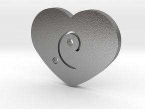 Moon-glyph-heart-energy in Natural Silver
