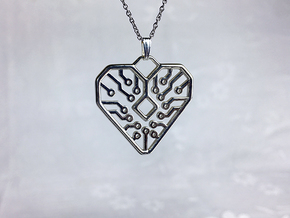 Heart Circuit Pendant 1 in Polished Silver