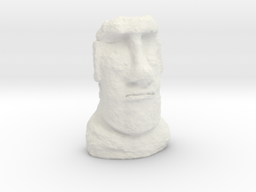 35mm scale Moai Head (Easter Island head) in White Natural Versatile Plastic