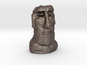 35mm scale Moai Head (Easter Island head) in Polished Bronzed Silver Steel