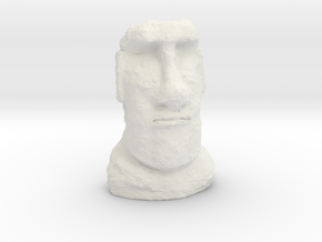 TT Gauge Moai Head (Easter Island head) in White Natural Versatile Plastic