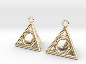 Pyramid triangle earrings serie 3 type 4 in 14k Gold Plated Brass