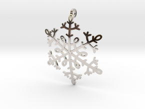 Snowflake Pendant or ornament in Rhodium Plated Brass