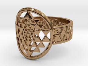 Sri Yantra Music, Love & Prosperity Ring Size 8 in Polished Brass