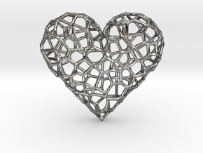 Voronoi Heart pendant (version 1) in Polished Silver