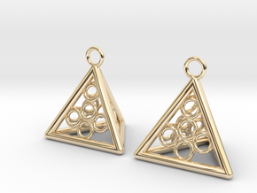 Pyramid triangle earrings serie 3 type 5 in 14k Gold Plated Brass