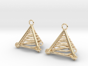 Pyramid triangle earrings serie 3 type 7 in 14k Gold Plated Brass