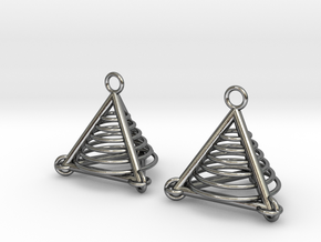 Pyramid triangle earrings serie 3 type 7 in Polished Silver