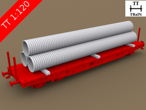 TT Scale Smmps Wagon Plastic Tubes Cargo in Smooth Fine Detail Plastic