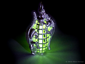 Tritium vial* holder with reptiles. *Not included. in Raw Silver
