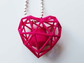 Heart Wireframe Pendant in Pink Processed Versatile Plastic