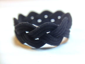 Turk's Head Knot Ring 3 Part X 9 Bight - Size 7.5 in Black Natural Versatile Plastic
