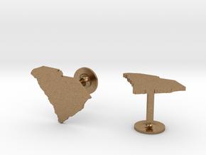South Carolina State Cufflinks in Natural Brass