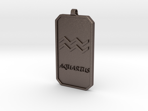 Zodiac Dogtag/KeyChain-AQUARIUS in Polished Bronzed Silver Steel