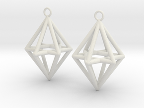 Pyramid triangle earrings type 14 in White Natural Versatile Plastic
