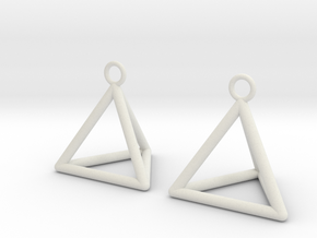 Pyramid triangle earrings in White Natural Versatile Plastic