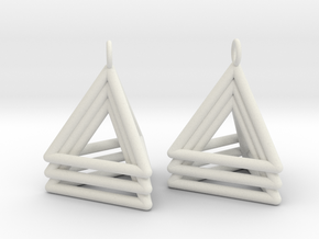 Pyramid triangle earrings type 5 in White Natural Versatile Plastic