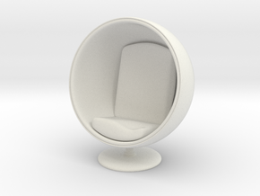 1/32 Girl sitting Egg Chair Part of Chair 001 in White Natural Versatile Plastic
