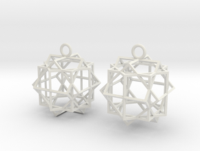Cube square earrings in White Natural Versatile Plastic