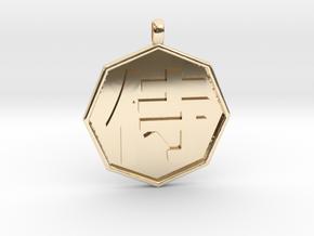 Samurai pendant in 14k Gold Plated Brass
