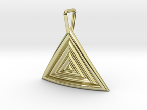 Triangular Ripple Pendant in 18k Gold Plated Brass