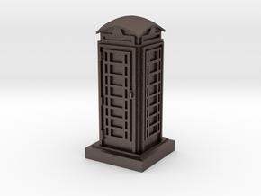 N Gauge Phone Box in Polished Bronzed Silver Steel