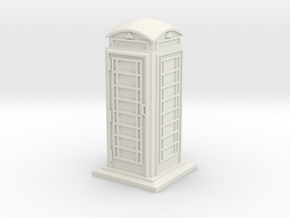 HO/OO Gauge Phone Box in White Natural Versatile Plastic