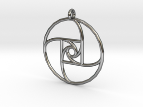 Square Spiral Pendant in Fine Detail Polished Silver