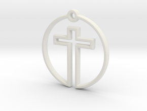Cross in Circle in White Strong & Flexible