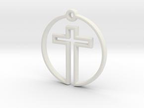 Cross in Circle in White Natural Versatile Plastic