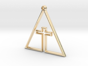 CROSS IN TRI in 14k Gold Plated Brass