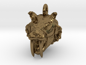 Saber toothed cat pendant in Polished Bronze