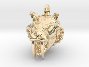Saber toothed cat pendant in 14K Yellow Gold