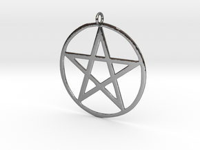 Wiccan Pentacle Charm in Fine Detail Polished Silver