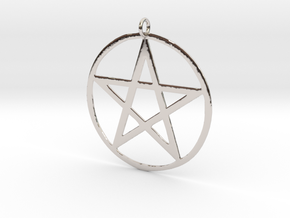 Wiccan Pentacle Charm in Platinum